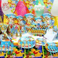 Hotsale 60pcs/Lot Winnie Pooh Children's Birthday Party Theme Birthday Party Baby Birthday Party Decorations Free Shipping