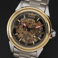 Original Winner Brand 2015 New Men Skeleton Full Steel Band  Auto-self wind Mechanical Casual Wristwatch Fashion Watch Relogio