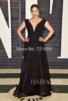 Fashion 57th Oscar Dress 2015 Free Shipping  A-line V-neck Tank Sequins Paula Patton Floor Length Celebrity Dresses Black