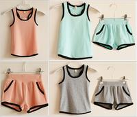 2015 summer new fashion baby clothing set boys sport set girls vest shorts children t-shirts kids casual suit undershirt pant