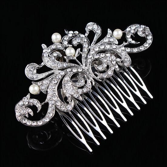 Factory directly cheap good quality Rhinestone Wedding Hair Comb Bridal hair piece(China (Mainland))