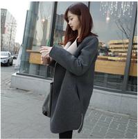 2015 new Large lapel woolen outerwear thermal all-match female medium-long woolen overcoat long-sleeve winter female