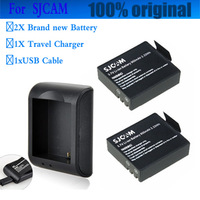 2PCS 3.7V Li-ion Battery 900mAh + One charger for HD camera SJCAM SJ4000 SJ5000 SJ5000 PLUS WIFI Sports Action camera