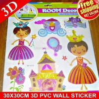 2015 Top Fashion Sale for Wall Cartoon All free Shippping!50pcs/lot Princess Fairy 3d Wall Stickers / Diy Layers /room Sticker