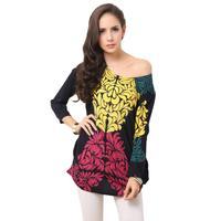 Европа blusas 2015 Wome лето новый стиль цветочные печати случайные свободные плюс размер короткий рукав рубашки шифон s-2xl 6384