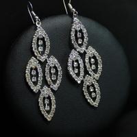 Fashion 925 Sterling Silver Ear Hook Crystal Dangle Weeding Earrings Free Shipping