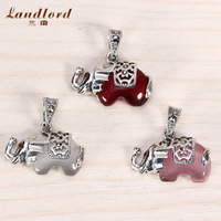 Hot Sale DIY Accessories 925 Sterling Silver Jewelry Cute Elephant Opal Charm Fit For Necklace & Bracelet 925 Thai Silver CP0078