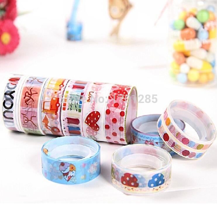 Wholesale 10 pcs lot Pretty kawaii Cute Cartoon DIY Adhesive Tape Sticky Washi Scrapbooking Sticker New(China (Mainland))