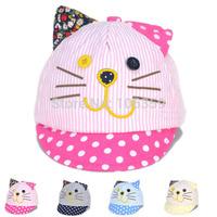 New Spring Cartoon Cat Ears Newborn Baseball Cap Baby Casquette Peaked Sun Hat Dot Infant Cotton Hat 10pcs SW038