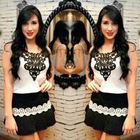 Black and white lace and chiffon patchwork mini dress