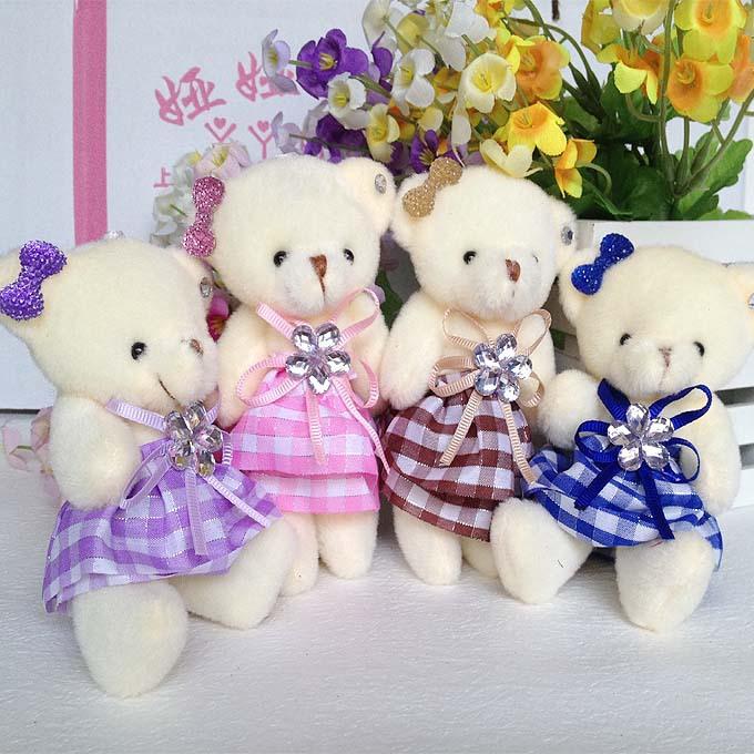Mobile charm accessory teddy bear girls toys doll bouquets flower bear material mini model plush&stuff promotional gift bear()