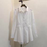Free Shipping ! Korean 2015 Cotton Waist Long Sleeve White Slim Medium-Long Folds Shirt Female ! Special offer