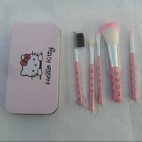 New Arrival Cute Hello Kitty Makeup brushes 5 in 1 (1 set= 5pcs,5pcs in 1bag) With Metal box /lot 10set
