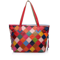 2015 fashion high quanlity desigual women's bag genuine leather knitting multicolour women handbag