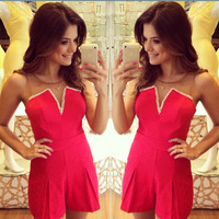 2015 Fashion New Sheer Patchwork Red Shorts Jumpsuit Summer Casual Playsuit Free Shipping