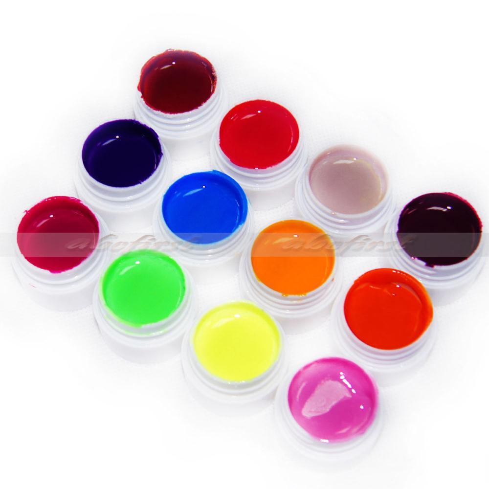 Nail Art Mix 12 Colors Pure UV Gel Primer Builder Tips DIY Decor Accessories(China (Mainland))
