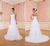 Robe De Mariage Sweetheart Chapel Train Chiffon Wedding Dresses Fast Shipping Bridal Vestido De Novia Gown 2015 On Sale