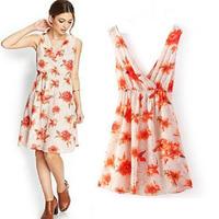 Floral Print  Cross Sexy Dress Bandage Deep V Neck Sleeveless Elastic Waist Women Dresses Sweet Pleated Mini Vestido Summer 2015