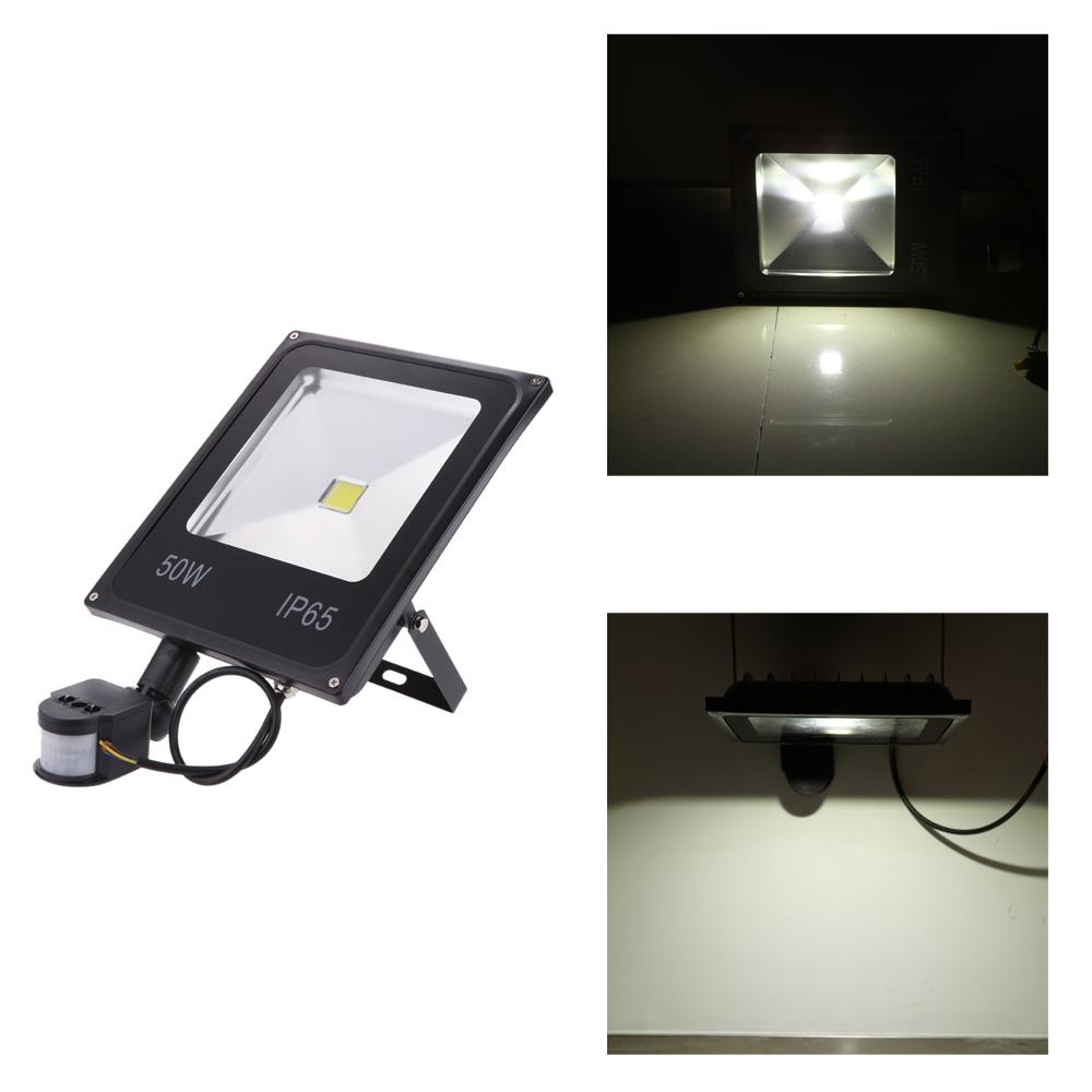 New High Energy Conversion 50W 85-265V LED Flood Light Water-resistant White/Warm White PIR Motion Sensor Induction Sense Lamp(China (Mainland))