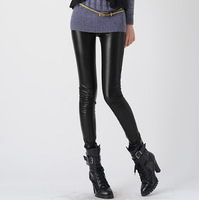 2015 New Spring Wholesale High Quality Cashmere Thicker Matte High Elastic Leather Nine Leggings Skinny Skintight Leather Pants