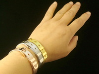 Fashion Classic 316L Stainless Steel Gold Plated Net Bracelet for Women