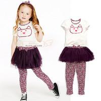 Girl's summer 3pcs clothing set children's set summer hot-selling cotton cat embroidered short sleeve shirt+Culottes+headband
