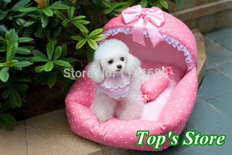 2015 New Arrival 2 pieces/lot Pink Princess Pet Bed Comfortable Beautiful Super Soft Pink Fluff Pet Bed(China (Mainland))