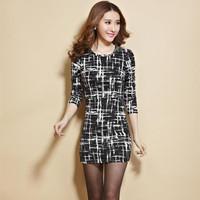 Autumn and winter basic design houndstooth slim hip plus size clothing long-sleeve dress female