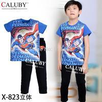 2015 baby short sleeve superman clothing set / kids clothes set / boys pajamas X-823