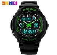 2015 Original SKMEI Brand Men Sports Military Watches Fashion Casual Dress Wristwatches 2 Time Zone Digital Quartz LED Watches