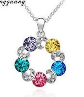 2015 New Arrival Zinc Alloy Women Pendant Necklaces Trendy Silver Link Chain Crystal Wheel Short Necklace