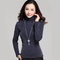 2015 new Plus velvet thickening plus size clothing long-sleeve basic turtleneck t-shirt basic thermal t-shirt