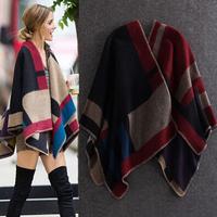 Free shipping Newest Hot Women Brand B Pashmina Wraps, High Quality Wool Splice Fashion Poncho Scarves,Autumn Winter Warm Scarf