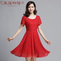 2015 summer knee length lace women dress evening party dresses women clothing vestido de festa vestidos femininos black/red/blue