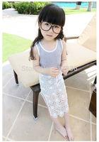 Girls summer lace sling print flowers dresses baby children princess wear   BB411DS-44