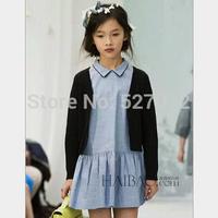 2015 fashion summer new designer girls dress with short sleeve. children blue Casual dresses.Kids clothes