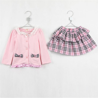 2015 spring & autumn new style baby girls Bow coat & plaid Layered skirt little girls preppy style clothing set A1661
