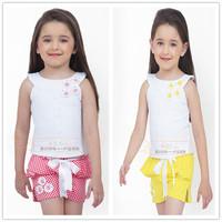 Free shipping -5sets/lot -2pcs baby clothing suit -Flower Girls Polka Dot Shorts Set suspenders + Belt - Girls leisure suit