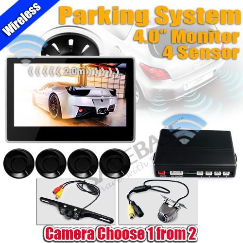 "Wireless Car Rearview Windscreen 4"" Monitor IR Reversing Camera 4 Parking Sensor(China (Mainland))"