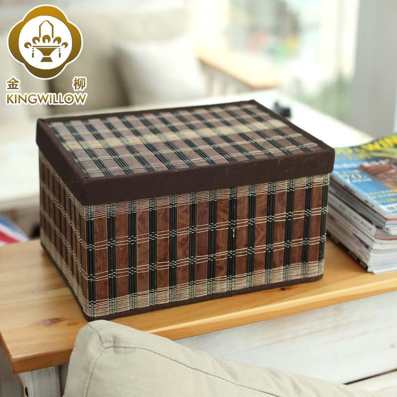 Gold home folding storage basket made of bamboo desktop storage box with cover finishing box storage box Small(China (Mainland))