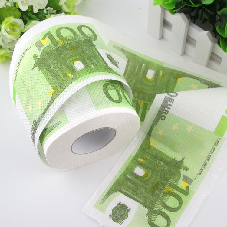 funny virgin wood pulp euro Dollar money print toilet Paper roll Toilet Tissues 130g(China (Mainland))