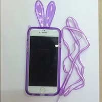 Free Shipping Lovely Rabbit Bumper with lanyard TPU cover for iphone 6 4.7inch Soft case protective for iphone 6