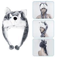 1pcs Animal Style Wolf Cute Fluffy Plush kids Hat Cap Soft Cartoon Handmade