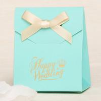 30pcs/lot blue wedding candy box with ribbon  wedding supplies