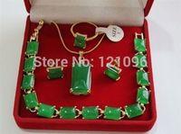 green jade bracelet earrings ring & pendant Necklace 4pc set