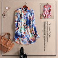 Free shipping! women's blouse 2015 spring turn-down collar long-sleeve print silk floss medium-long shirt top d273302
