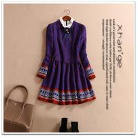 Free shipping! 2015 spring vintage print ruffle collar long-sleeve slim one-piece dress a c254229