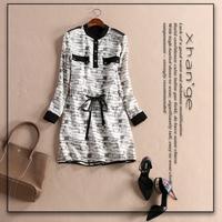 Free shipping! 2015 spring plaid pattern stand collar drawstring waist long-sleeve slim one-piece dress c263217