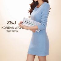 2015 spring woolen slim basic autumn and winter long-sleeve ol one-piece dress slim hip short  female