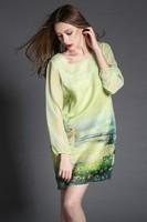 Free shipping  2015 spring and summer fashion women silk organza elegant rustic t2829 print green casual dress wholesale va2038
